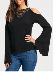 Lace Panel Cold Shoulder Long Sleeve T-shirt -