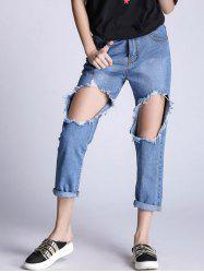 Distressed Hole Boyfriend Jeans -