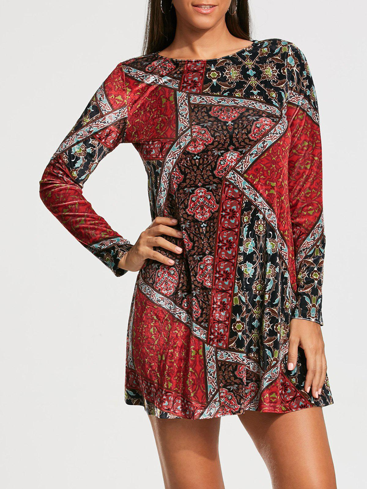 Patchwork Print Long Sleeve Tunic Shift DressWOMEN<br><br>Size: XL; Color: COLORMIX; Style: Vintage; Material: Polyester; Silhouette: Shift; Dress Type: Tunic Dress; Dresses Length: Mini; Neckline: Round Collar; Sleeve Length: Long Sleeves; Waist: Natural; Pattern Type: Patchwork,Print; With Belt: No; Season: Fall,Spring,Summer; Weight: 0.4000kg; Package Contents: 1 x Dress; Occasion: Beach and Summer,Casual,Going Out;