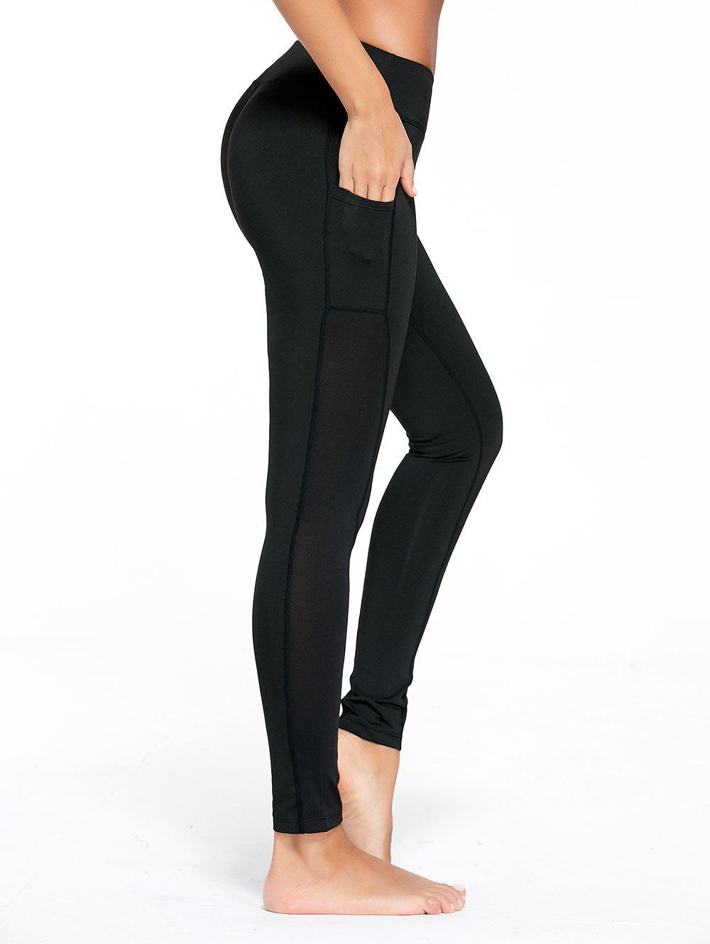 Stretchy Side Pocket Workout LeggingsWOMEN<br><br>Size: L; Color: BLACK; Style: Active; Length: Ninth; Material: Cotton Blends,Polyester,Spandex; Fit Type: Skinny; Waist Type: High; Closure Type: Elastic Waist; Pattern Type: Others; Pant Style: Pencil Pants; Elasticity: Elastic; Weight: 0.2400kg; Package Contents: 1 x Leggings;