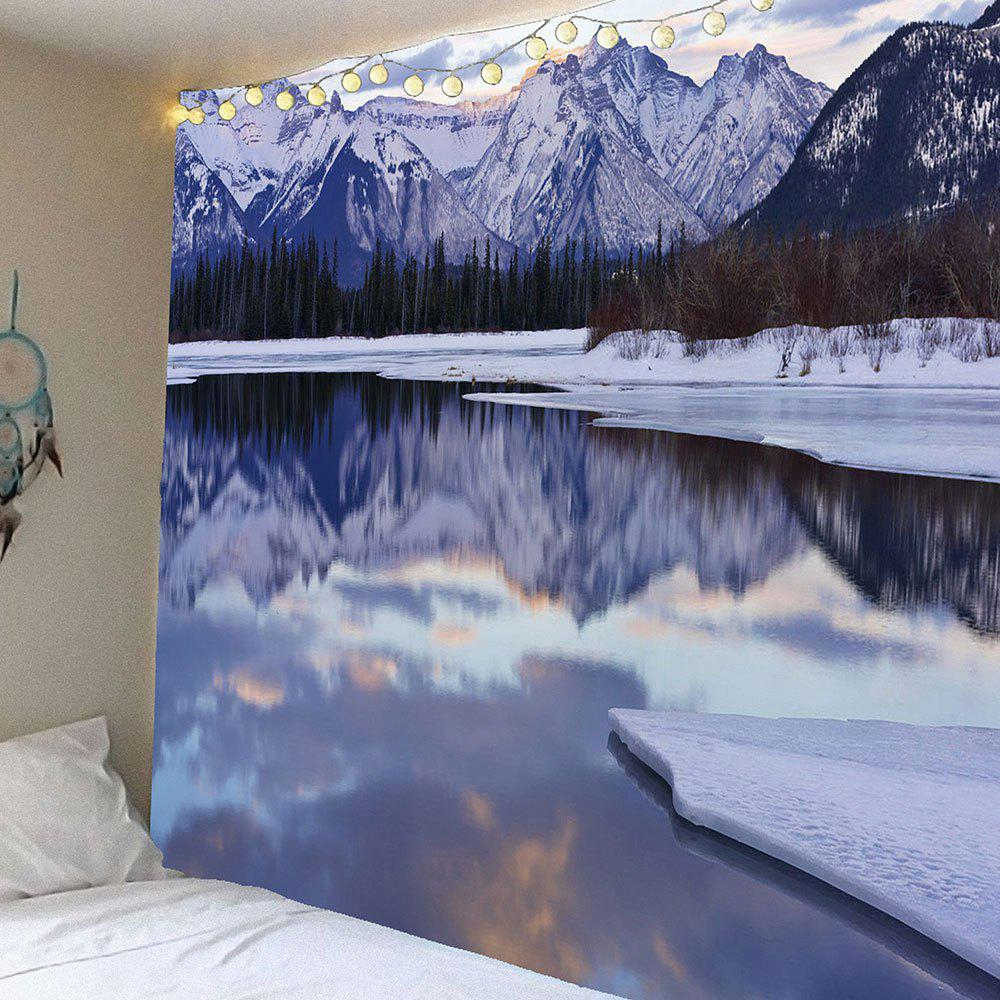 Ice Lake Forest Snow Mountains Waterproof Wall TapestryHOME<br><br>Size: W79 INCH * L71 INCH; Color: COLORFUL; Style: Natural; Theme: Landscape; Material: Velvet; Feature: Removable,Waterproof; Shape/Pattern: Forest,Mountain; Weight: 0.3800kg; Package Contents: 1 xTapestry;
