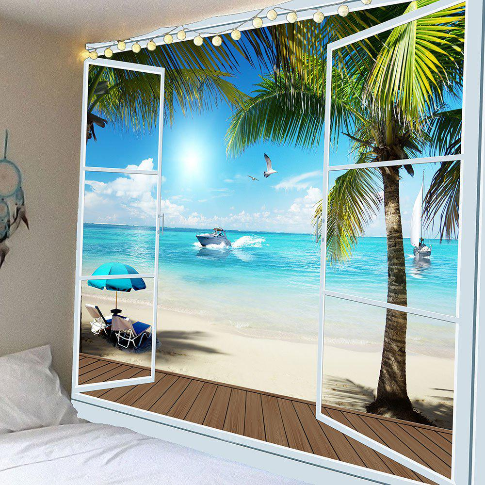 Coconut Palms Sea Beach Waterproof Hanging TapestryHOME<br><br>Size: W59 INCH * L51 INCH; Color: BLUE; Style: Natural; Theme: Landscape; Material: Velvet; Feature: Removable,Waterproof; Shape/Pattern: Water,Window; Weight: 0.2100kg; Package Contents: 1 x Tapestry;