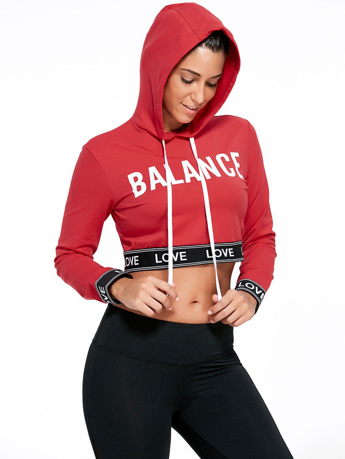 Store Balance Letter Graphic Sports Crop Hoodie