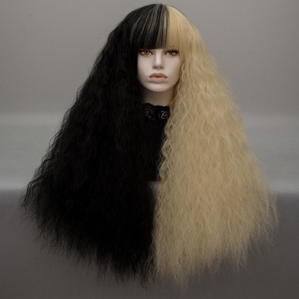 Long Neat Bang Two Tone Shaggy Curly Wave Lolita Cosplay WigHAIR<br><br>Color: BLACK AND GOLDEN; Type: Full Wigs; Style: Wavy; Material: Synthetic Hair; Bang Type: Full; Length: Long; Length Size(CM): 75; Weight: 0.2600kg; Package Contents: 1 x Wig;