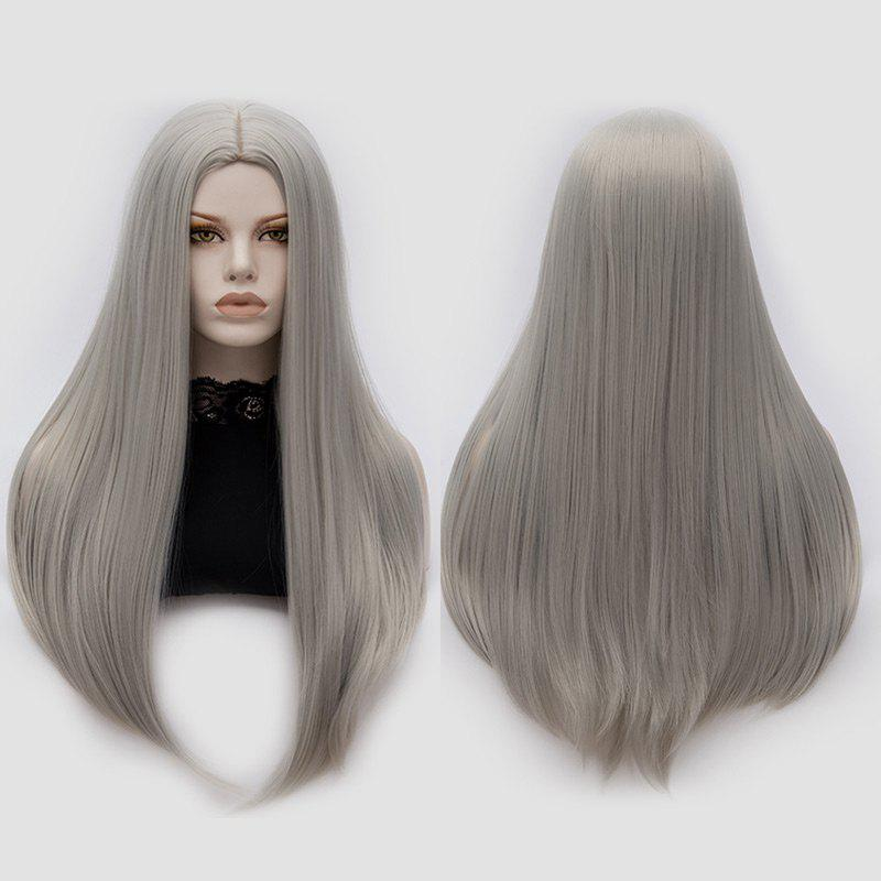 Long Middle Part Tail Adduction Straight Cosplay Anime WigHAIR<br><br>Color: FROST; Type: Full Wigs; Style: Straight; Material: Synthetic Hair; Bang Type: Middle; Length: Long; Length Size(CM): 65; Weight: 0.2700kg; Package Contents: 1 x Wig;