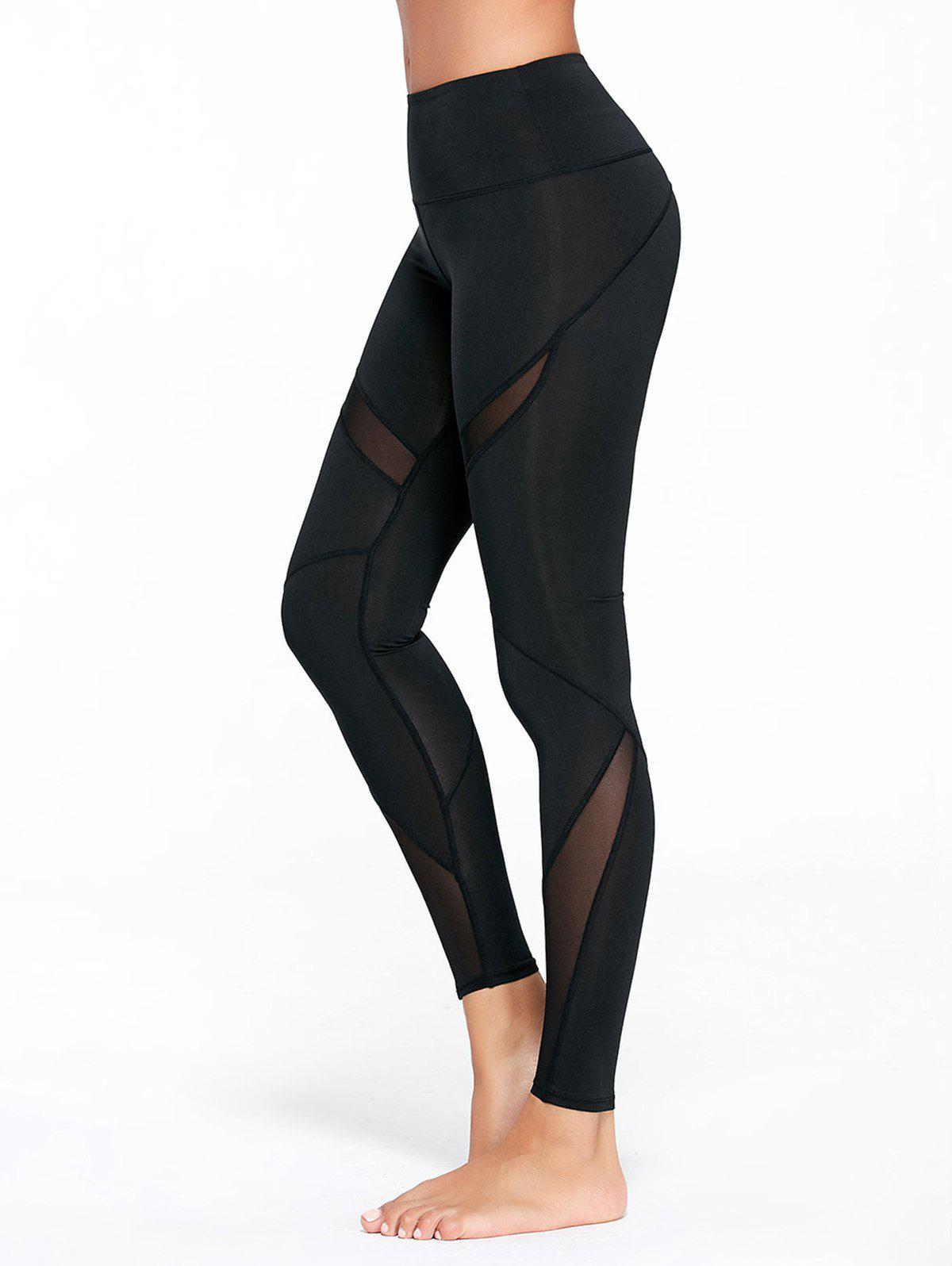 High Waisted Mesh Panel Workout LeggingsWOMEN<br><br>Size: S; Color: BLACK; Style: Fashion; Length: Ninth; Material: Polyester,Spandex; Fit Type: Skinny; Waist Type: High; Closure Type: Elastic Waist; Pattern Type: Solid; Pant Style: Pencil Pants; Elasticity: Elastic; Weight: 0.2600kg; Package Contents: 1 x Leggings;