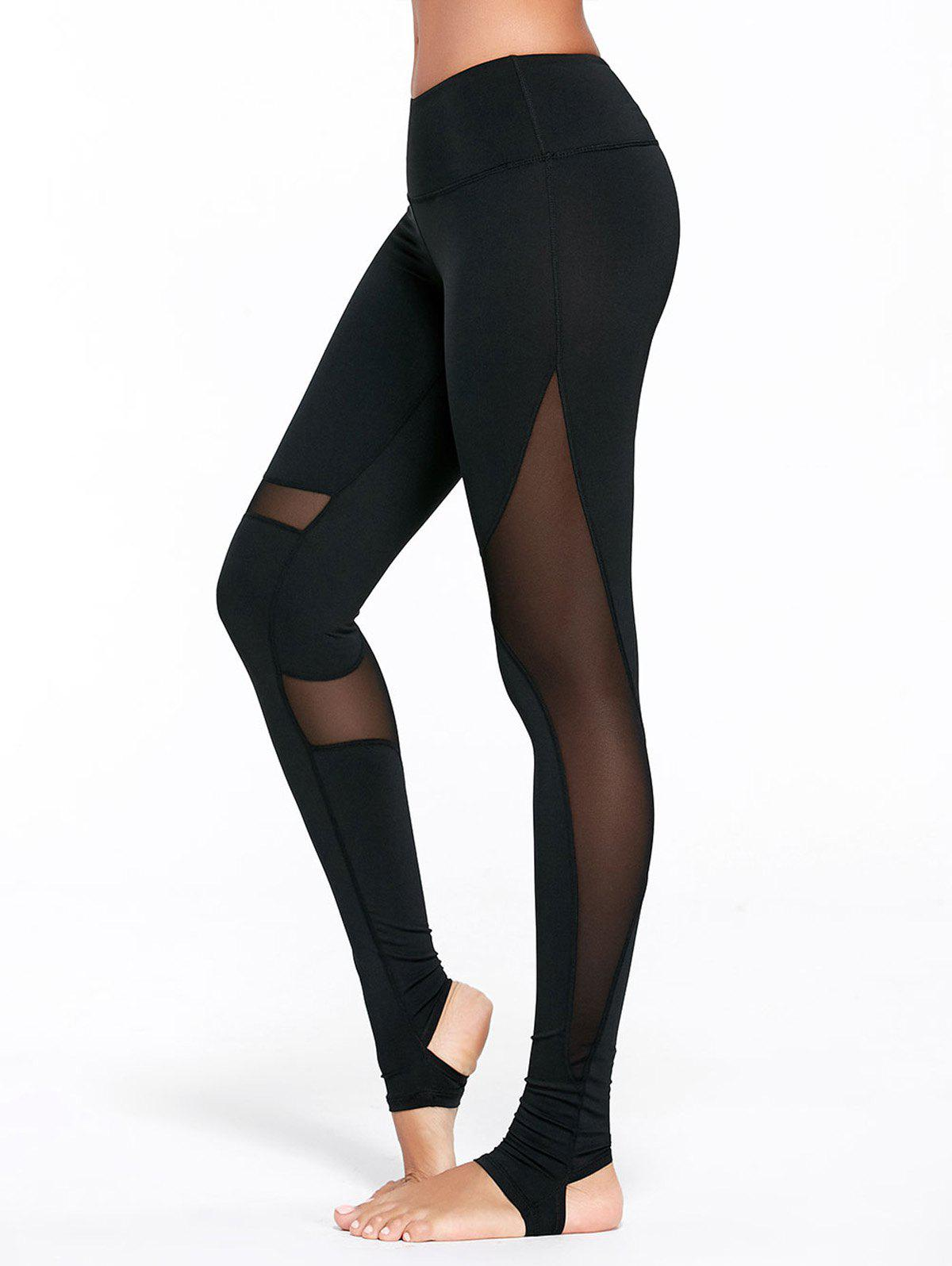 Outfits Sheer Mesh Insert Workout Leggings with Stirrup