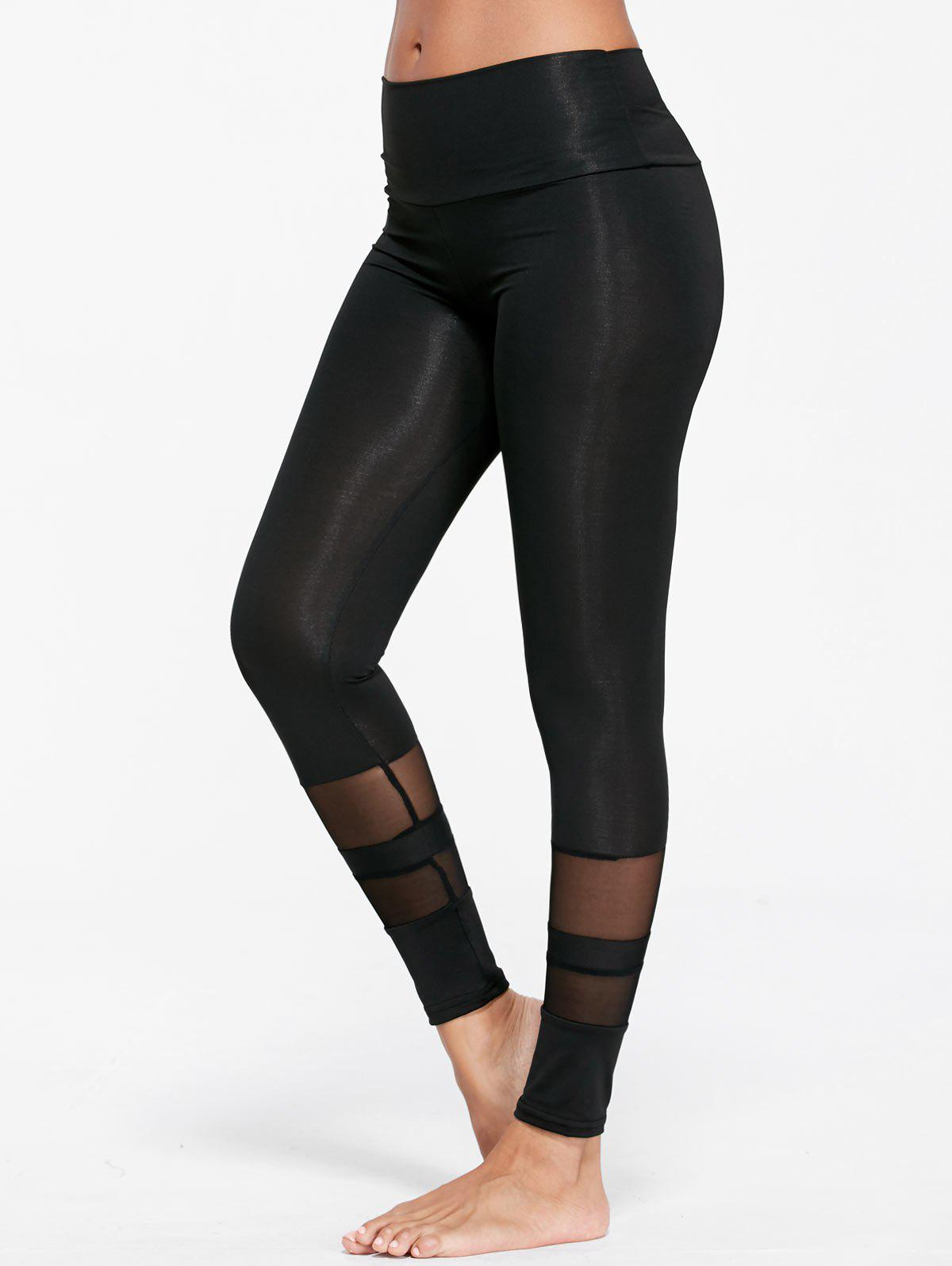 See Through  Mesh Insert Sports TightsWOMEN<br><br>Size: M; Color: BLACK; Style: Active; Length: Ninth; Material: Polyester,Spandex; Fit Type: Skinny; Waist Type: High; Closure Type: Elastic Waist; Pattern Type: Solid; Pant Style: Pencil Pants; Elasticity: Elastic; Weight: 0.1800kg; Package Contents: 1 x Leggings;