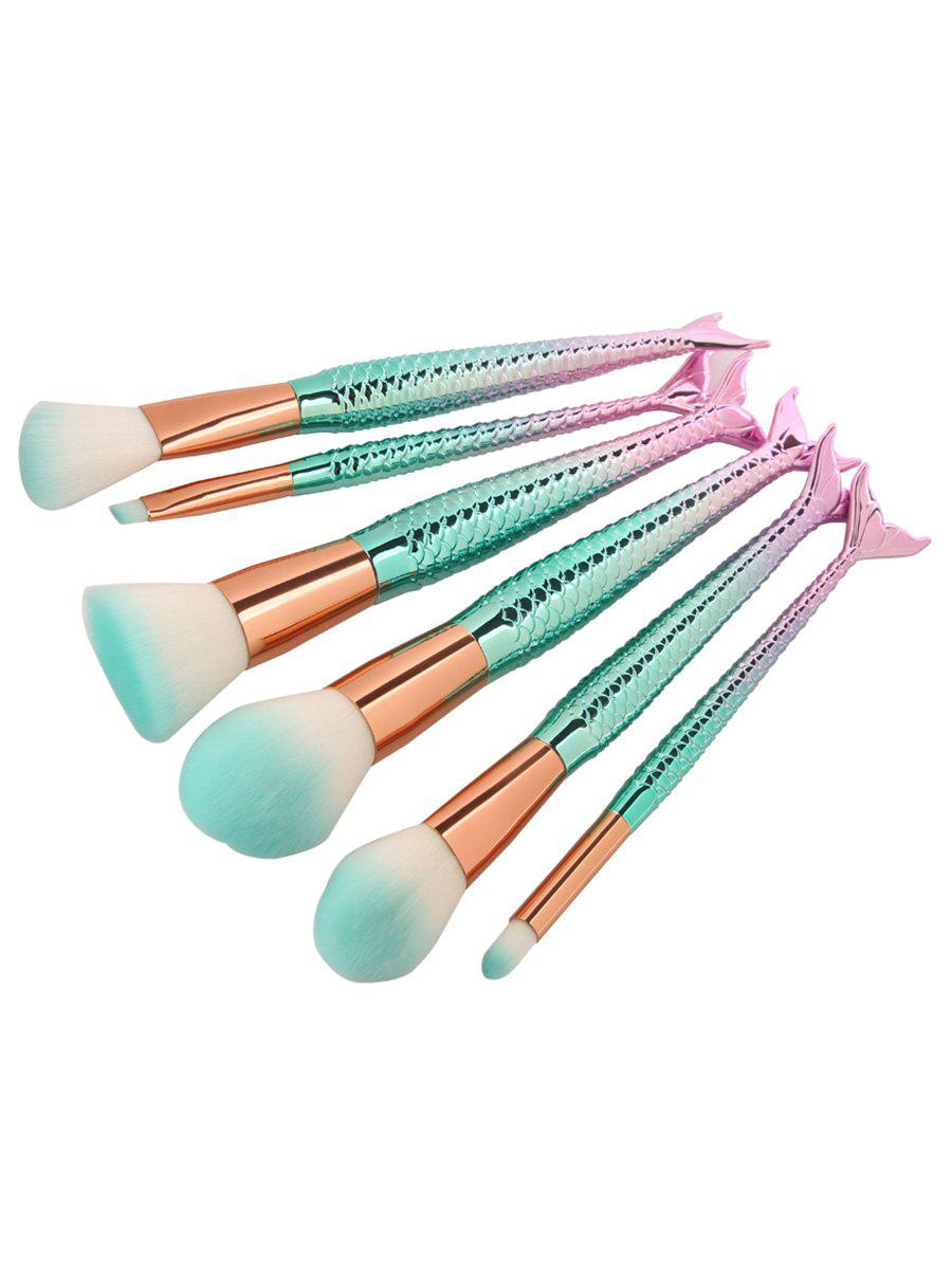 6Pcs Facial Ombre Mermaid Design Makeup Brushes SetBEAUTY<br><br>Color: PINKISH BLUE; Category: Makeup Brushes Set; Brush Hair Material: Synthetic Hair; Features: Professional; Season: Fall,Spring,Summer,Winter; Weight: 0.1300kg; Package Contents: 6 x Brushes(Pcs);