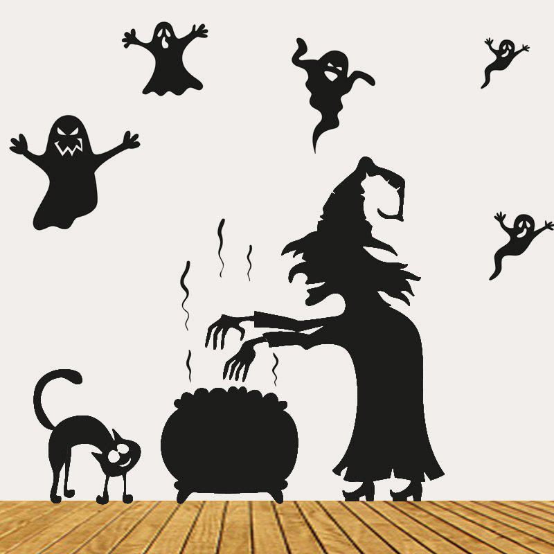 Halloween Witch Ghost Vinly Wall Art StickersHOME<br><br>Size: 57*70CM; Color: BLACK; Wall Sticker Type: Plane Wall Stickers; Functions: Decorative Wall Stickers; Theme: Halloween; Material: PVC; Feature: Removable; Weight: 0.1888kg; Package Contents: 1 x Wall Stickers;