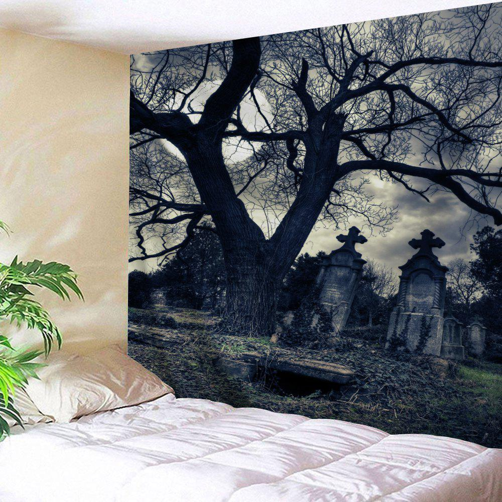 Wall Hanging Halloween Gloomy Night TapestryHOME<br><br>Size: W91 INCH * L71 INCH; Color: BLACK GREY; Style: Festival; Theme: Halloween,Landscape; Material: Polyester; Feature: Removable,Washable; Shape/Pattern: Print; Weight: 0.3800kg; Package Contents: 1 x Tapestry;