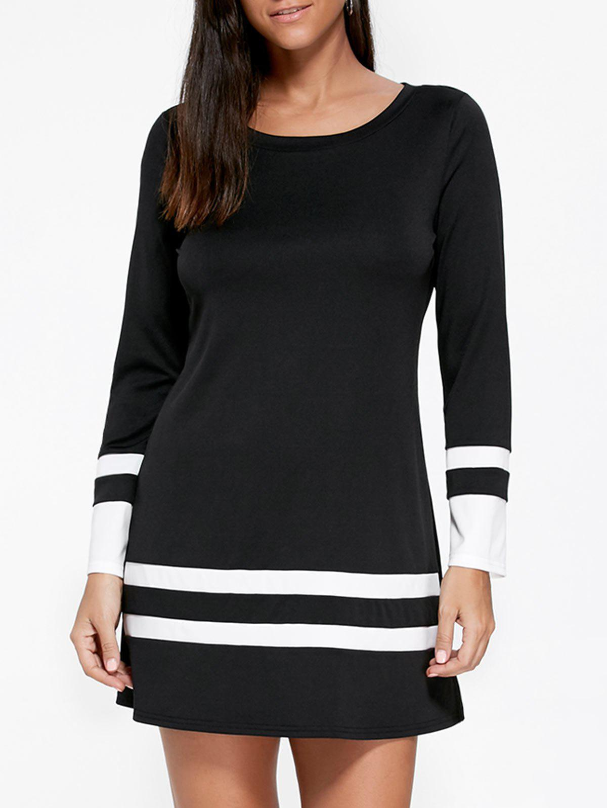 Long Sleeve Two Tone T-shirt DressWOMEN<br><br>Size: XL; Color: BLACK; Style: Casual; Material: Polyester,Spandex; Silhouette: Straight; Dresses Length: Mini; Neckline: Round Collar; Sleeve Length: Long Sleeves; Pattern Type: Striped; With Belt: No; Season: Fall,Spring,Summer; Weight: 0.3000kg; Package Contents: 1 x Dress; Occasion: Casual ,Going Out;