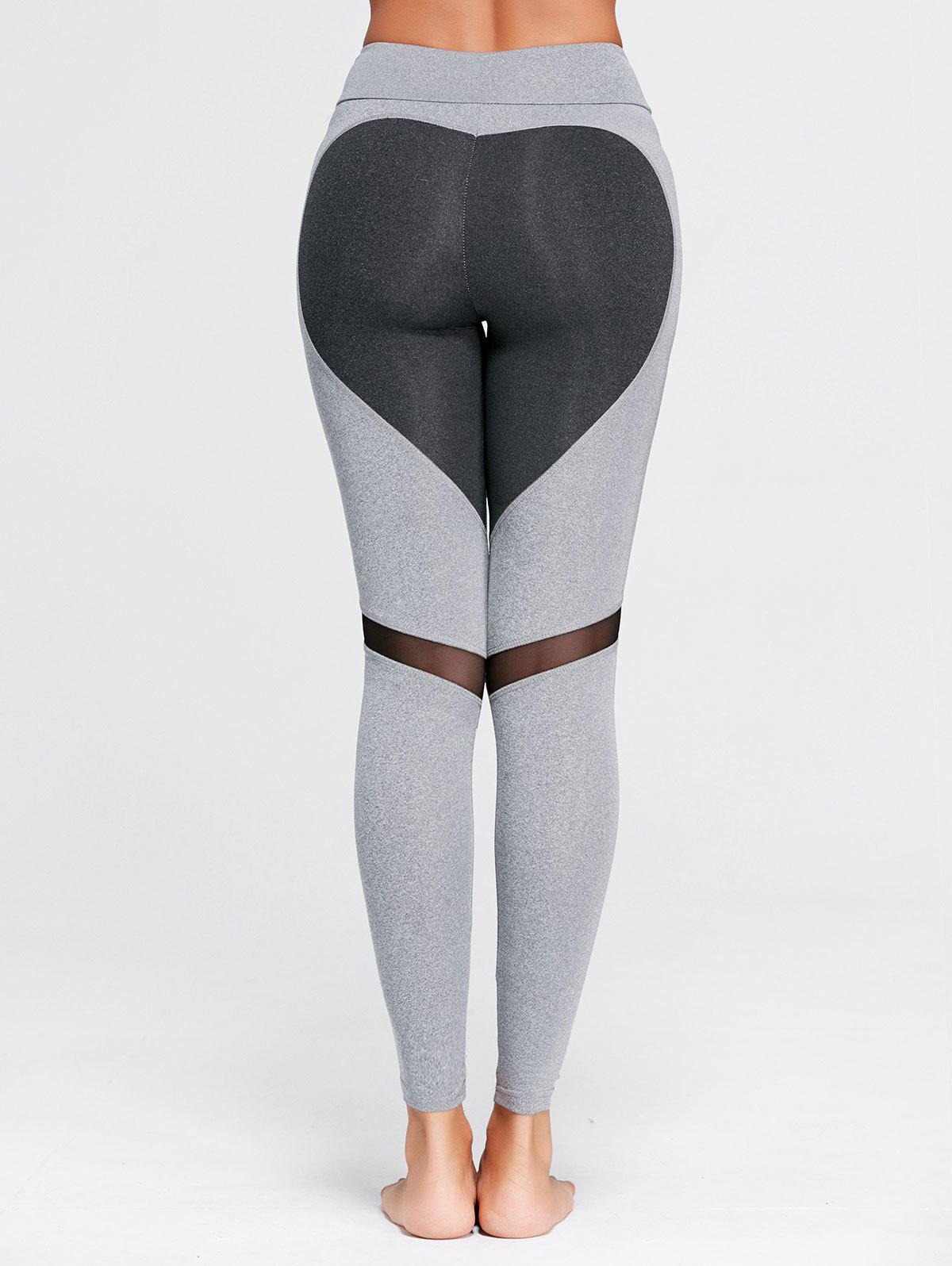 Heart Pattern Mesh Panel Workout LeggingsWOMEN<br><br>Size: M; Color: GRAY; Style: Active; Length: Ninth; Material: Polyester,Spandex; Fit Type: Skinny; Waist Type: High; Closure Type: Elastic Waist; Pattern Type: Heart; Pant Style: Pencil Pants; Weight: 0.2200kg; Package Contents: 1 x Leggings;