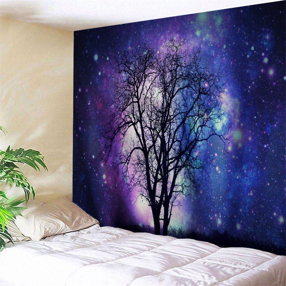 Galaxy Tree Wall Art Hanging TapstryHOME<br><br>Size: W91 INCH * L71 INCH; Color: BLUE VIOLET; Style: Romantic; Material: Polyester; Feature: Removable,Washable; Shape/Pattern: Print; Weight: 0.3800kg; Package Contents: 1 x Tapestry;
