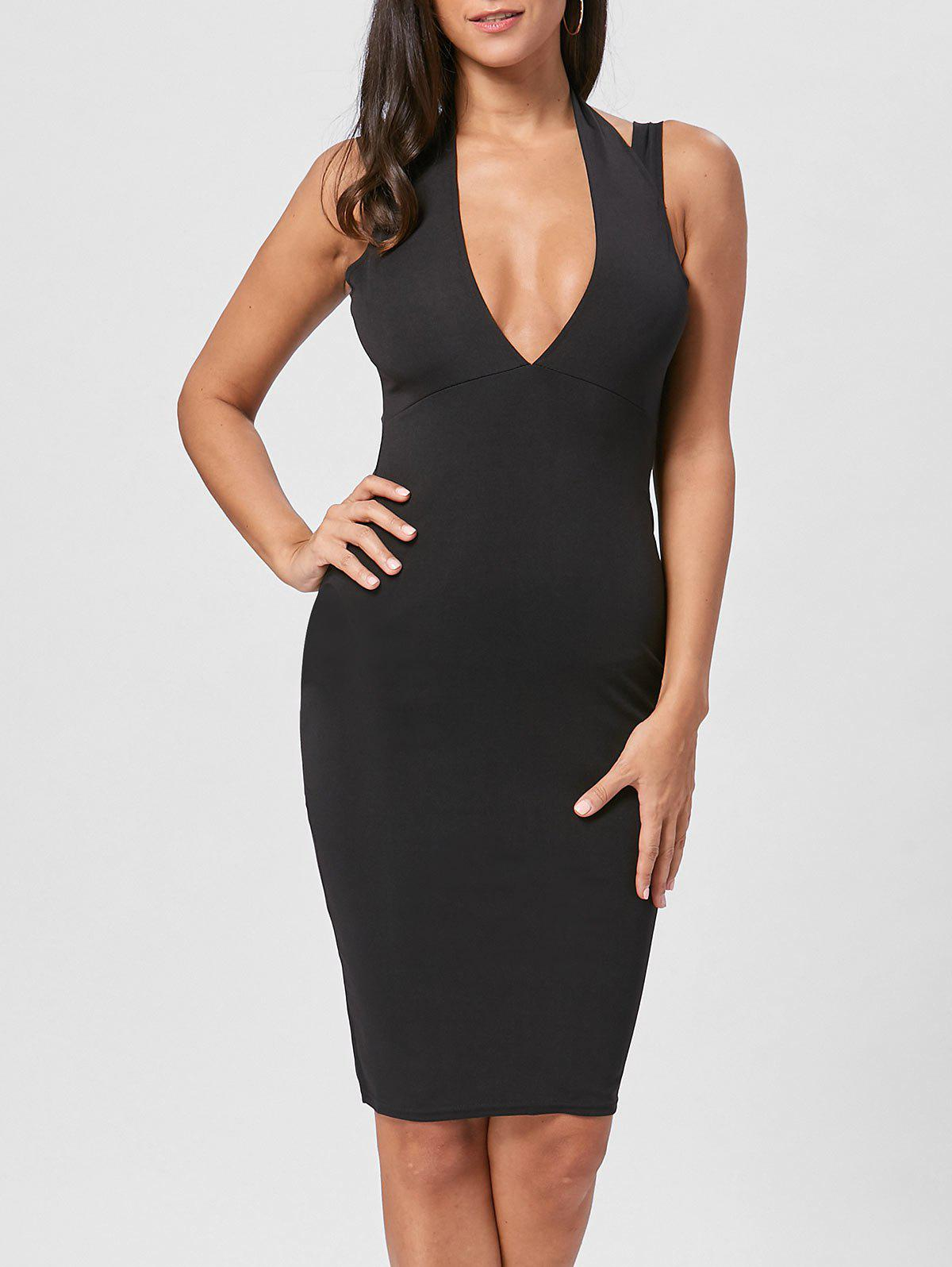Discount Open Back Plunging Neck Sheath Dress