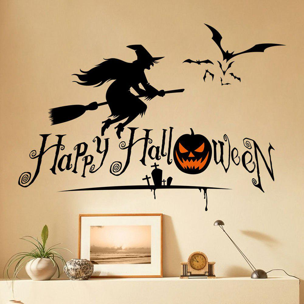 DIY Halloween Witch Shape Wall StickersHOME<br><br>Color: BLACK; Wall Sticker Type: Plane Wall Stickers; Functions: Decorative Wall Stickers; Theme: Halloween; Material: PVC; Feature: Removable; Weight: 0.2100kg; Package Contents: 1 x Wall Stickers (Set);