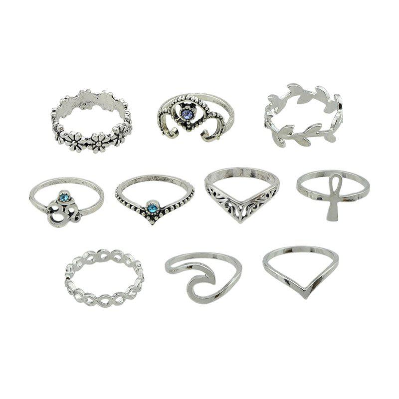10 Pieces Plant Carve RingsJEWELRY<br><br>Color: SILVER; Gender: For Women; Metal Type: Alloy; Style: Hipster; Shape/Pattern: Others; Weight: 0.0600kg; Package Contents: 10 x Rings;