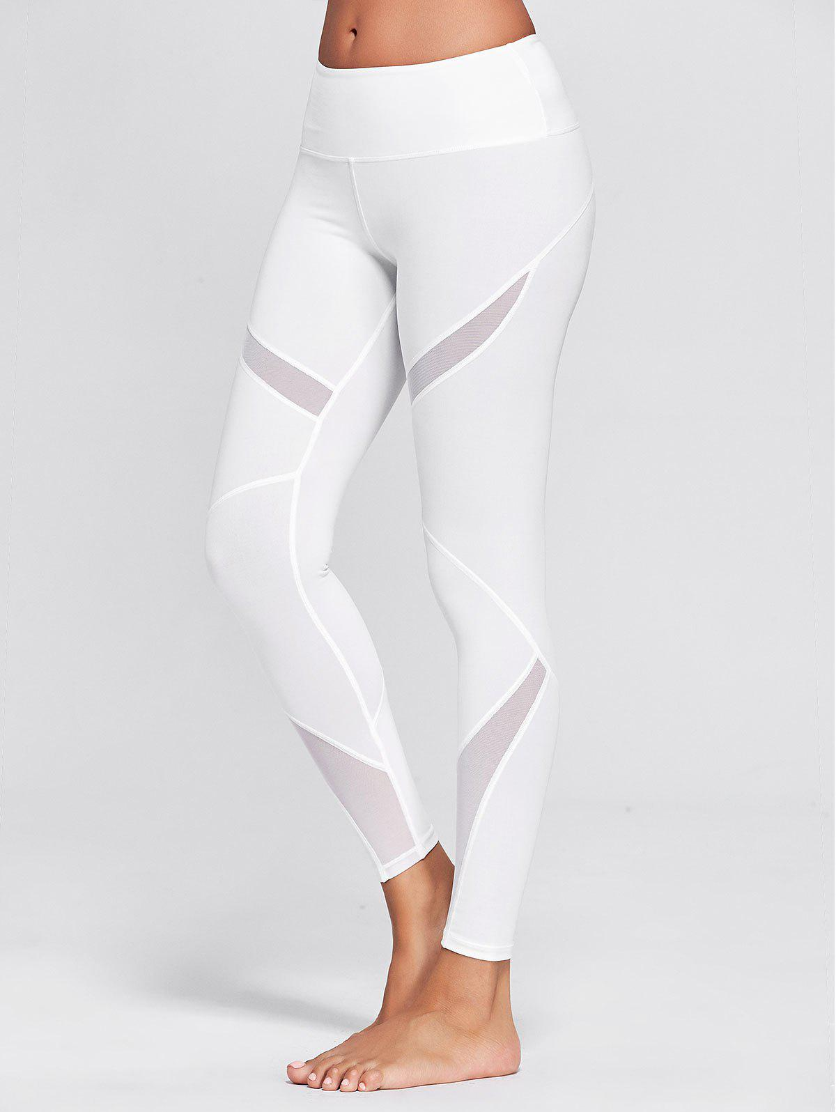 Fancy High Waisted Mesh Panel Workout Leggings
