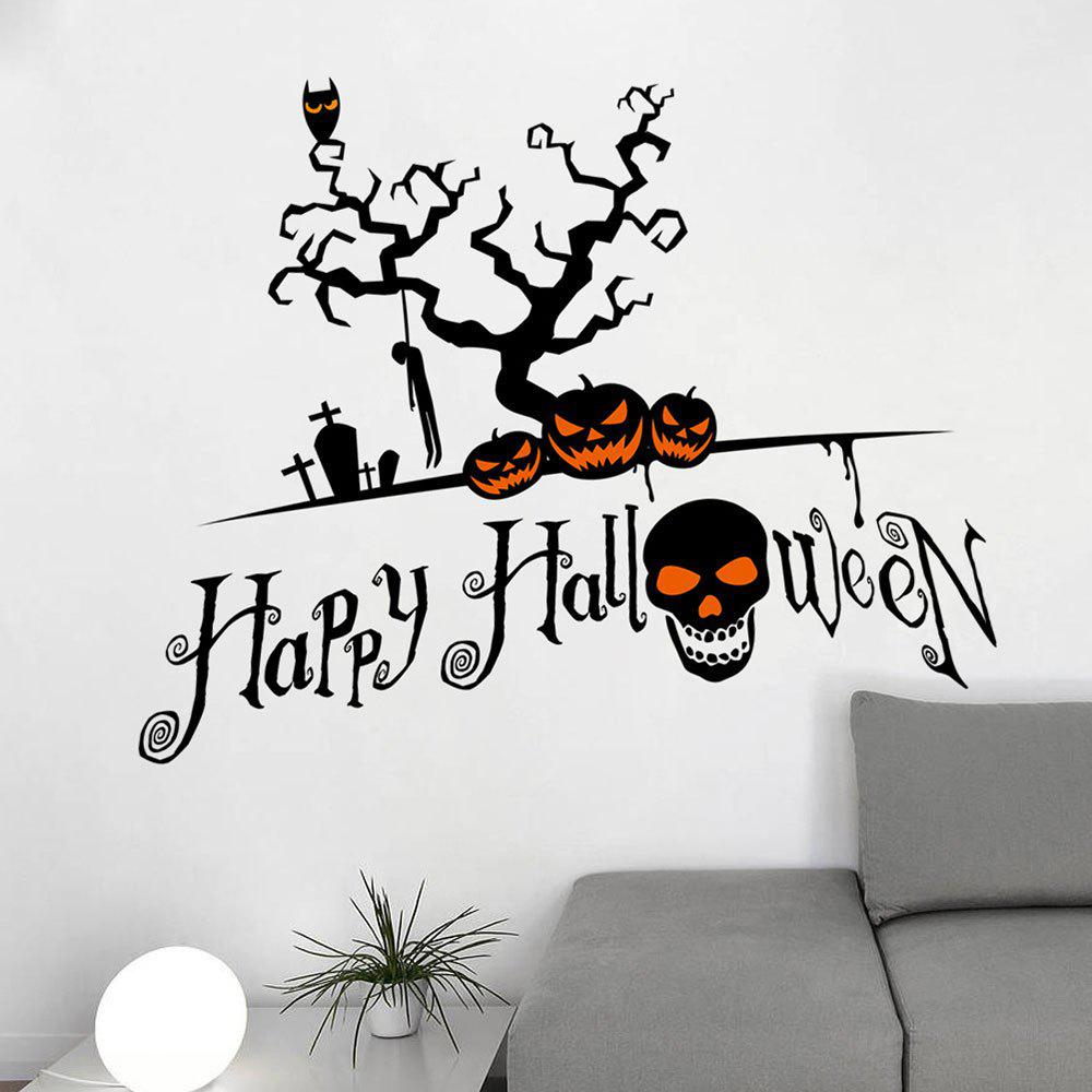 Home Decor DIY Halloween Pumpkin Shape Wall StickersHOME<br><br>Color: BLACK; Wall Sticker Type: Plane Wall Stickers; Functions: Decorative Wall Stickers; Theme: Halloween; Material: PVC; Feature: Removable; Weight: 0.2100kg; Package Contents: 1 x Wall Stickers (Set);