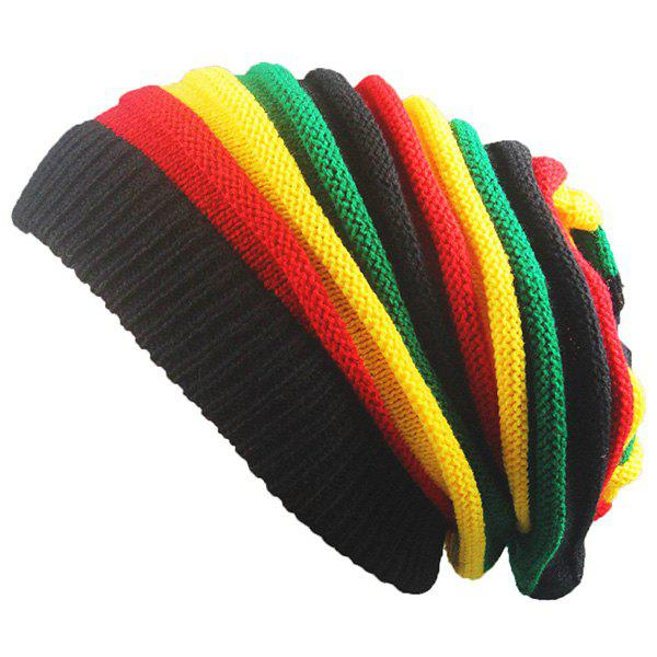 Fold Rainbow Striped Knitting BeanieACCESSORIES<br><br>Color: COLORFUL; Hat Type: Skullies Beanie; Group: Adult; Gender: Unisex; Style: Fashion; Pattern Type: Striped; Material: Acrylic; Weight: 0.1000kg; Package Contents: 1 x Hat;