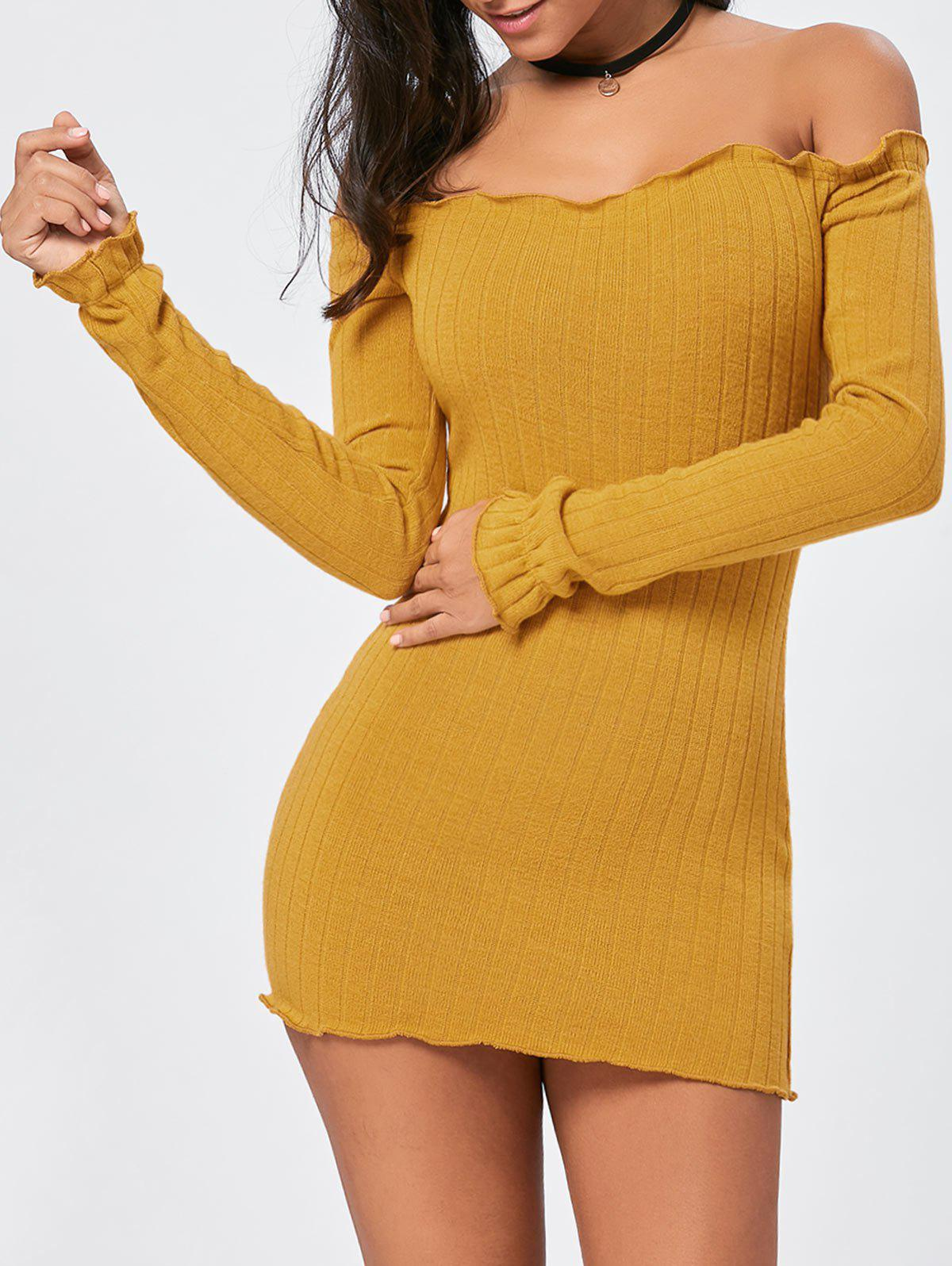 New Off The Shoulder Mini Sweater Dress