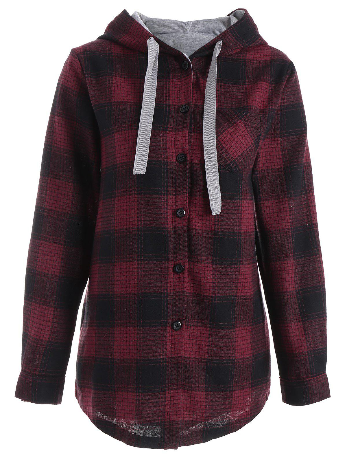 Button Up Pocket Plaid Plus Size HoodieWOMEN<br><br>Size: 4XL; Color: RED; Material: Polyester; Shirt Length: Regular; Sleeve Length: Full; Style: Fashion; Pattern Style: Plaid; Season: Fall; Weight: 0.4600kg; Package Contents: 1 x Hoodie;