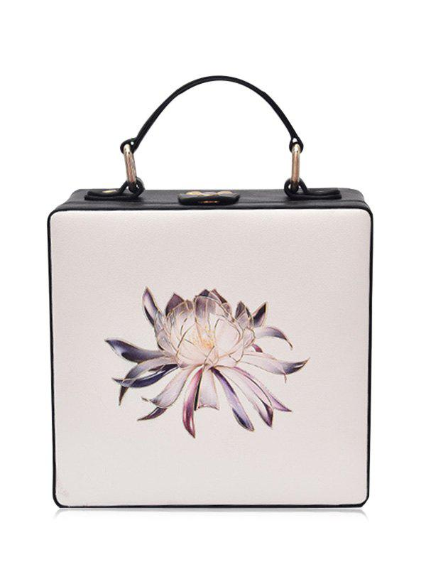 Box Shaped Floral Print Crossbody BagSHOES &amp; BAGS<br><br>Color: OFF-WHITE; Handbag Type: Crossbody bag; Style: Fashion; Gender: For Women; Pattern Type: Floral; Handbag Size: Mini(&lt;20cm); Closure Type: No Zipper; Interior: Cell Phone Pocket; Occasion: Versatile; Main Material: PU; Weight: 0.5000kg; Size(CM)(L*W*H): 17*9*16; Package Contents: 1 x Crossbody Bag;