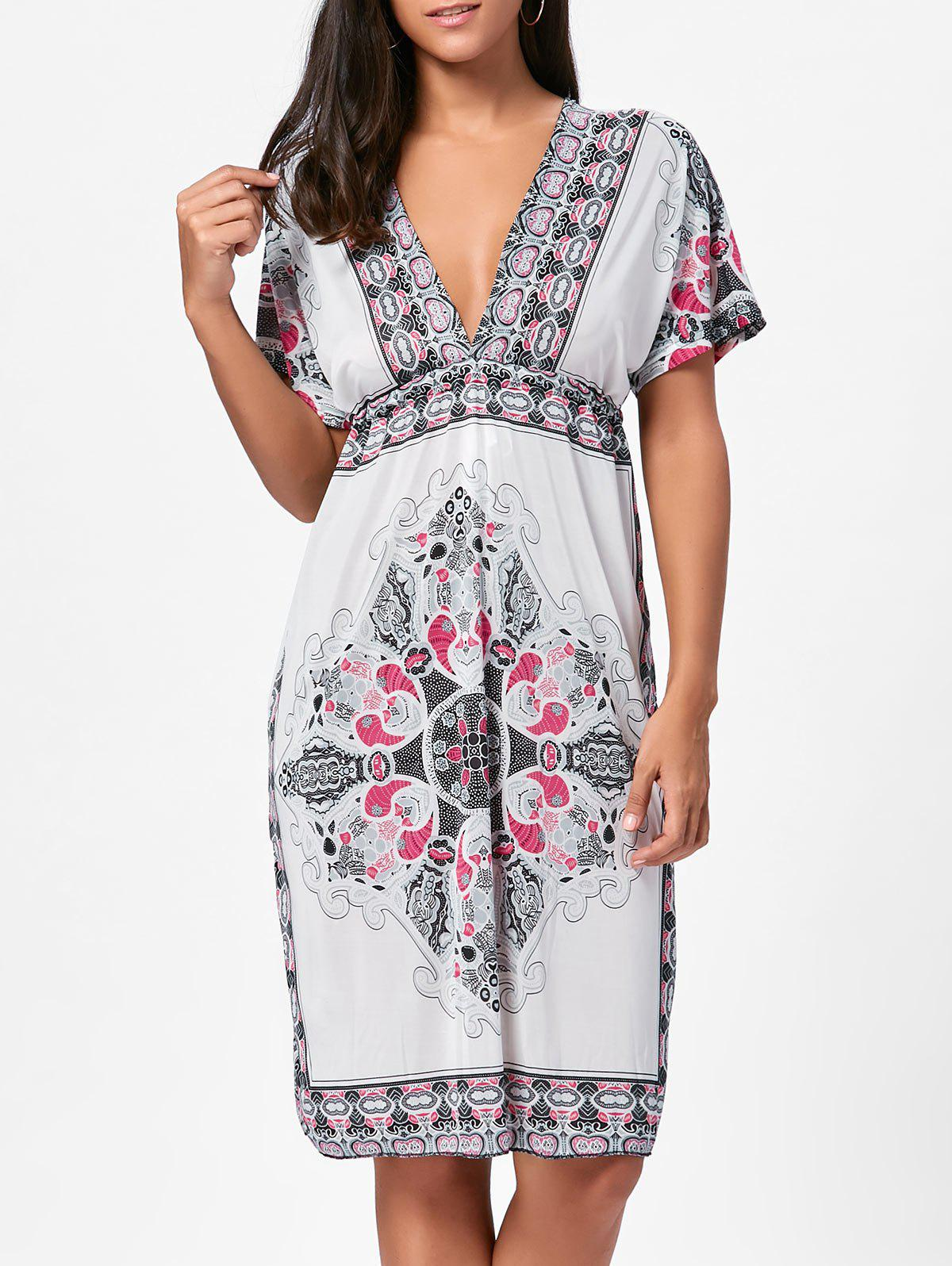 627fbd235584 2018 Backless Aztec Print Plunge Shift Dress In White One Size ...