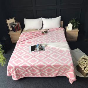Rhombus Printed Throw Naked Sleep Blanket