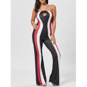 Keyhole Striped Spaghetti Strap Jumpsuit