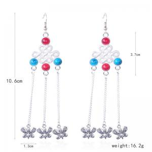 Butterfly Pendant Chinese Knot Fish Hook Earrings -