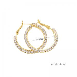 Rhinestones Hoop Earrings - GOLDEN