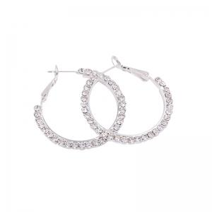 Rhinestones Hoop Earrings