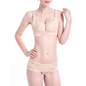 Lace Insert Scalloped Trim Bralette - Apricot - 90c