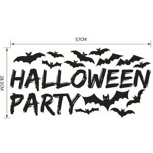 Bricolage Halloween Bats Shape Wall Stickers - Noir