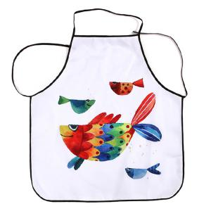 Kitchen Product Cartoon Art Fish Fabric Apron - White - 80*70cm