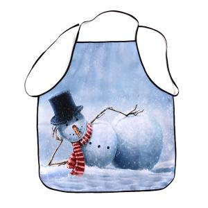 Snowman Printed Kitchen Tool Fabric Apron - Grey White - 80*70cm