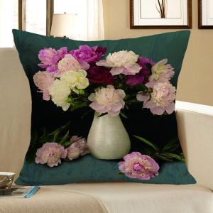 Peony Flower Pattern Decorative Pillow Case - Colormix - W18 Inch * L18 Inch