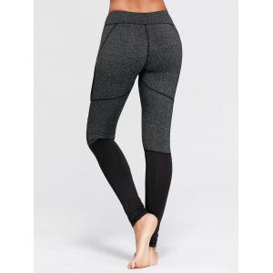 Two Tone Workout Tights with Mesh - GRAY S