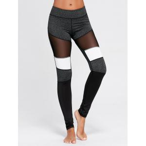 Two Tone Workout Tights with Mesh - GRAY XL
