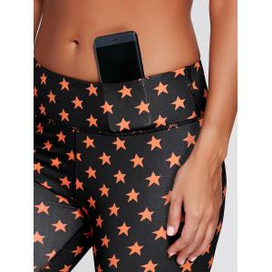 Stars Printed Cropped Fitness Tights - BLACK M