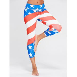 American Leggings d'exercices d'impression patriotique de drapeau américain -