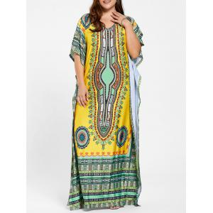 Tribal Print V Neck Plus Size Long Dress