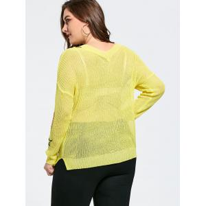 Plus Size Graphic Ripped Sheer Crochet Sweater - YELLOW ONE SIZE