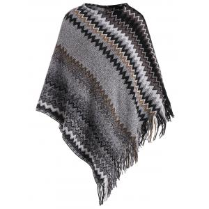 Fringed Zigzag Plus Size Poncho Sweater - Gray - One Size