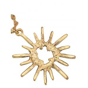 Barbed Hollow Sun Embellished Pendant Necklace - GOLDEN