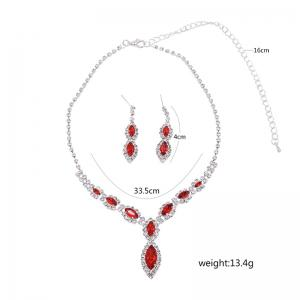 Rhinestone Infinity Necklace and Earrings - RED
