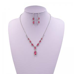 Rhinestone Infinity Necklace and Earrings - Pink