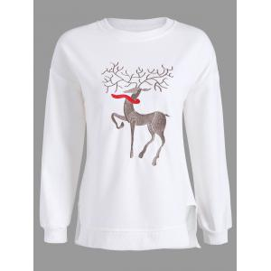 Plus Size High Low Elk Embroidered Top