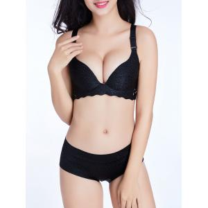 Scalloped Trim Seamless Jacquard Bra - Black - 95c